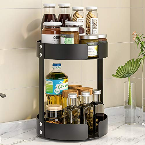 Pusdon 2 Tier Lazy Susan Organizer, 360-degree Turntable Spice Seasoning Rack Rotating Kitchen Shelf, Storage Rack for Cabinet, Pantry, Bathroom, Countertop, Office Space Save Must Have, Black