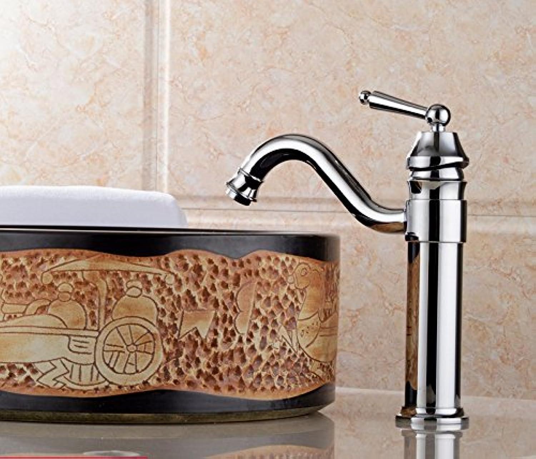 LHbox Becken Kupfer Antik Continental Kalt Wasserhhne Plus Einem Loch Waschtischmischer, auf der Konsole, im Hellen Chrom Farbe