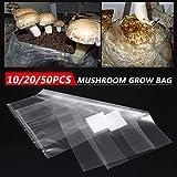 Bolsa de cultivo de hongos comestibles, bolsa de cultivo de hongos, bolsa de plantación hortícola, PVC resistente a altas temperaturas, bolsa transpirable de 25,4 x 50,8 cm (10 x 20/50 unidades)