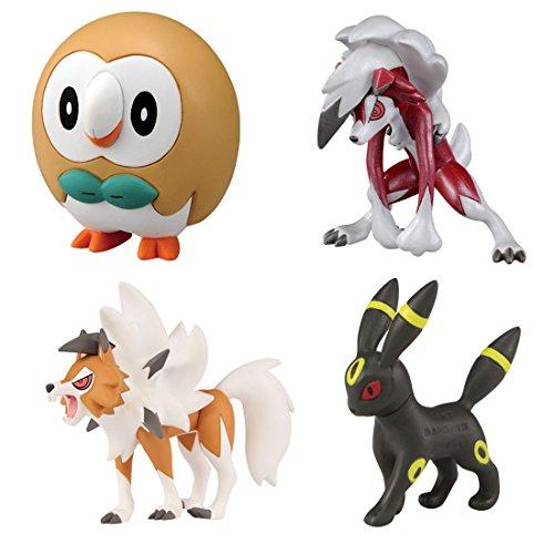 Pokemon Monster Collection EX Ash Ketchum VS Gladion (Gladio) Battle Set Rowlet (Bauz) [Neue Pose] - Umbreon (Nachtara) - Lycanroc (Wolwerock) [Mitternachtsform und Dämmerungsform]