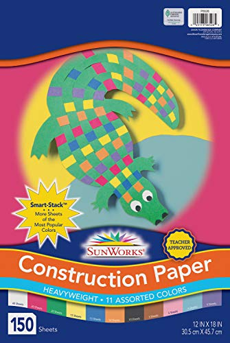 SunWorks 6526 Construction Paper, 11 Assorted Colors, 12' x 18', 150 Sheets