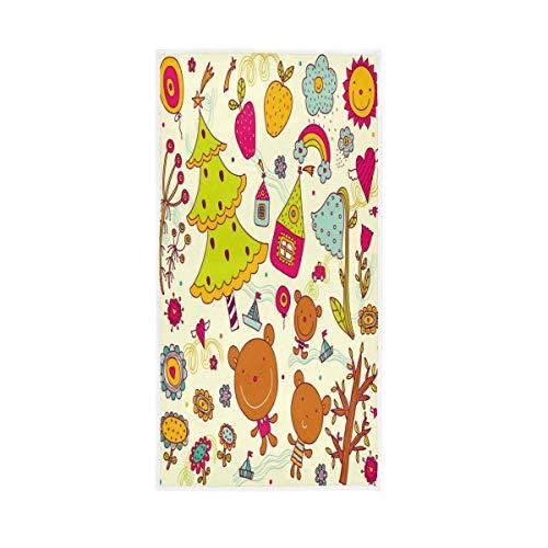 MNSRUU - Toalla de mano de algodón con diseño de osos de 30 x 15 pulgadas