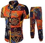 MK988 - Camisas de Manga Corta para Hombre con Botones y Pantalones de Jogger y Estampado Africano, 2 Piezas, Trajes de Playa 1 L