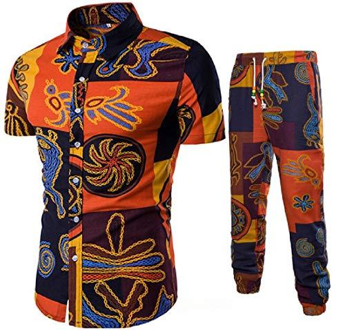 MK988 Herren-Knöpfe, kurzärmelig, afrikanischer Druck, Dashiki-Hemden und Jogger-Hose, 2-teilig, Anzüge für Strand Gr. S, 1