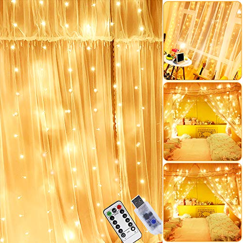 Cortina de Luces LED, 3m x 2m Luces de Cadena de Cortina, 200 LED Luces de Hadas, 8 Modos de Luces, IP44 Impermeable, Cortina Luces USB con Gancho para Decoración de Casa, Fiestas, Navidad, Bodas,etc.