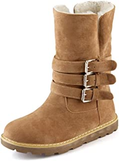 Women's Winter Snow Boots Suede Waterproof High Top Buckle Strap Warm Fur Lined Cold Weather Ankle Boot Booties