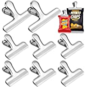 Whaline 8 Pack Stainless Steel Chip Clips Set, 4.7'' & 3'' Chip Bag Clips Heavy Duty Food Clips Round Edge Air Tight Seal Grip for Office Kitchen Home Usage Storage (2 Large and 6 Small Size)