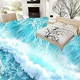 Suelo 3D Suelo Impermeable Personalizado 3D Pvc Vinilo Suelo Papel Tapiz Sea Waves Habitación 3D...