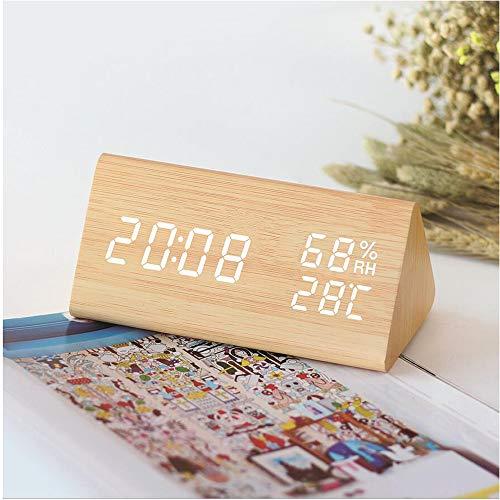 VORRINC Digitaler Wecker LED Holz Wecker Uhr Reisewecker mit 2 Alarmen/Temperaturanzeige/Luftfeuchtigkeit, 3 Helligkeit, Nachttisch Schlafzimmer