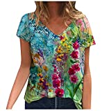 Hotkey Short Sleeve Tops for Women, Women's V Neck T-Shirts Sunflower Printed Graphic Tees Casual Top Blouses Shirts, S-5XL
