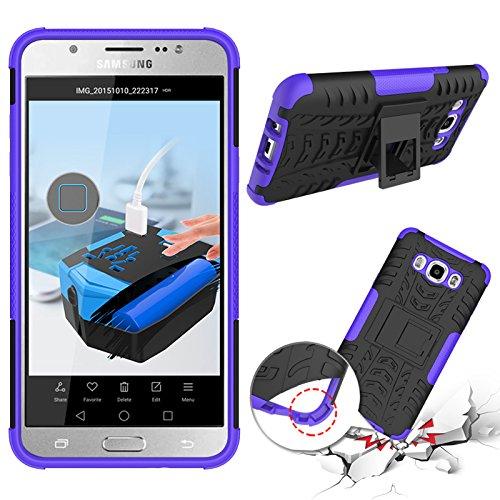 Funda híbrida de doble capa desmontable [Kickstand] 2 en 1 resistente a los golpes, resistente a prueba de golpes, compatible con Samsung Galaxy J5 2016 J510 (color: púrpura)