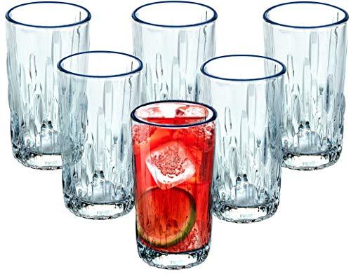 Bezrat Highball Glasses [Set of 6] Lead-Free Crystal Double Old-Fashioned Whiskey Glasses, SET OF 6, Heavy Base Barware Glasses Set, 10 oz Drinking Glasses.
