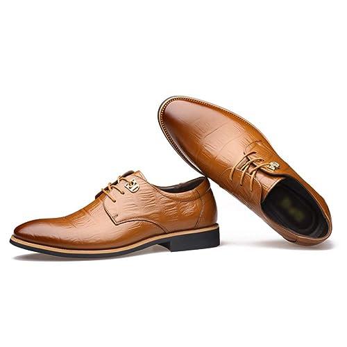 Qimaoo Herren Anzugschuhe Business Schuhe Lederschuhe aus Leder für Beruf  und Anzug Rindleder Schwarz Braun 83c4520064