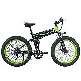 WFIZNB Elektro-Mountainbikes, 1000W elektrische Fahrrad-Männer Berg Ebike 21 Geschwindigkeiten 26-Zoll-Fat Tire Straßen-Fahrrad Strand/Schnee mit Lithium-Ionen-Batterie 48V8Ah Off-Road-Bikes,Grün