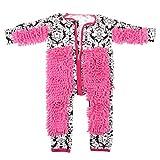 KESOTO Baby Kleinkind Wischmopp Overall Langarm Neugeborenen Strampler Jumpsuit Böden Reinigung Schneeanzüge - Schwarz + weiße Blume, 80 cm