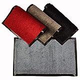 WohnDirect Felpudo Gris • 40x60 cm • para Interior con Borde - Antideslizante y Lavable - Felpudo Apto para calefacción por Suelo Radiante - Felpudo para la Zona de Entrada