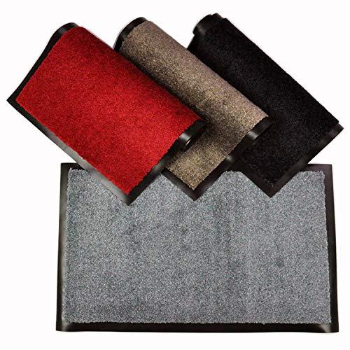 WohnDirect Fußmatte Grau • 60 x 40 cm • für Innen mit Rand • rutschfest & waschbar • Fussmatte für Fußbodenheizung geeignet • Türmatte für den Eingansbereich