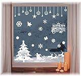 heekpek Pegatinas de Ventana de Puerta de Navidad Blanca Grande árbol de Navidad Santa Claus Pegatina de Navidad Extraíble Vinilo Navideños para Escaparates Decoraciones de Feliz Navidad