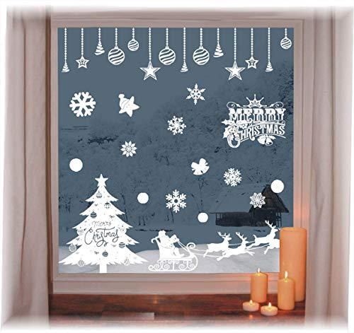 heekpek Pegatinas de Ventana de Puerta de Navidad Blanca Grande árbol de...