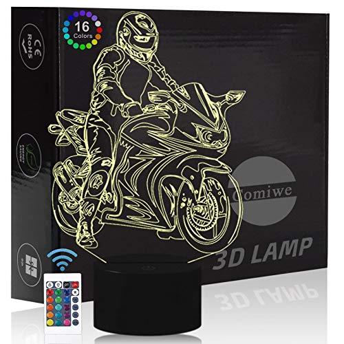 Comiwe Motorrad 3D Illusion Nachtlicht Spielzeug,Dekoration LED Nachttischlampe 16 Farben Ändern mit Fernbedienung,Weihnachten Deko Lampe Geburtstagsgeschenk Für Jungen Kinder Männer Freund