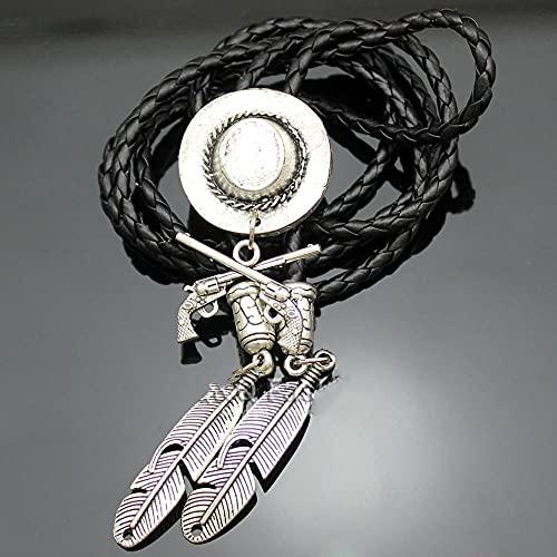MXEHC Bolo Corbata Corbata Vaquero Plata Chapado Sombrero Corss Occidental bolo Corbata línea joyería de Baile Nuevo Collar Corbata bolo (Color : Vintage Silver)