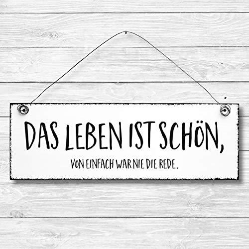 Das Leben ist schön - Dekoschild Türschild Wandschild aus Holz 10x30cm - Holzdeko Holzbild Deko Schild
