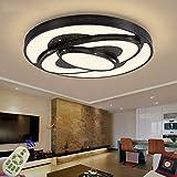 LED Lámpara de Techo 60W Interior Plafón Moderna LED de Techo Redonda De Dormitorio Cocina Sala de estar Comedor Balcón Pasillo (Regulable 3000-6500K)