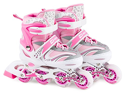 Hop-Sport 3in1 Inliner Inlineskates/Roller/Triskates für Kinder/Verstellbar/Farbe Weiß-Pink - S 30-33