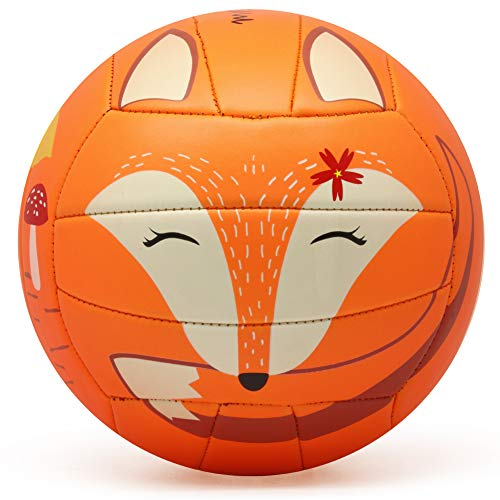 PP PICADOR Soft Kid Volleyball,Cute Cartoon Balls for Girl Boys Sport Toy Gift with Pump(Fox, Size 3)
