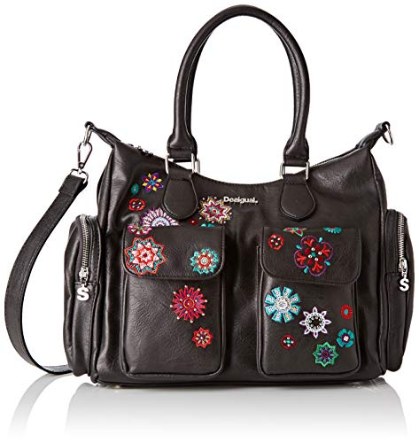Desigual Bag Rep Nanit London, Bandolera para Mujer, Negro (Negro), 15.5x25.5x32 cm (B x H x T)