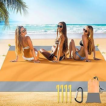Arkim Couverture de plage, 200×200cm, imperméable à l'eau, surdimensionnée pour 4 à 7 adultes, grande couverture de pique-nique de plage, tapis de plage portable pour voyage, (jaune-gris)