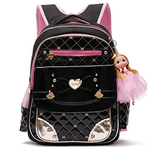 Backpack for Girls, Waterproof Kids Backpacks School Bag Toddler Bookbags Cute Travel Daypack (Large, A-Black)