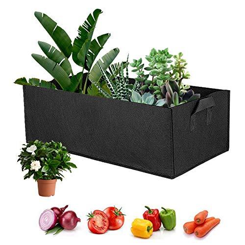 5 Pcs Fabric Raised Garden Bed, Square Garden Flower Grow Bag, Rectangle Grow Bag, Vegetable Planting Planter Pot for Potato Carrot Onion Taro Plant Growing Pots with Handles (large)