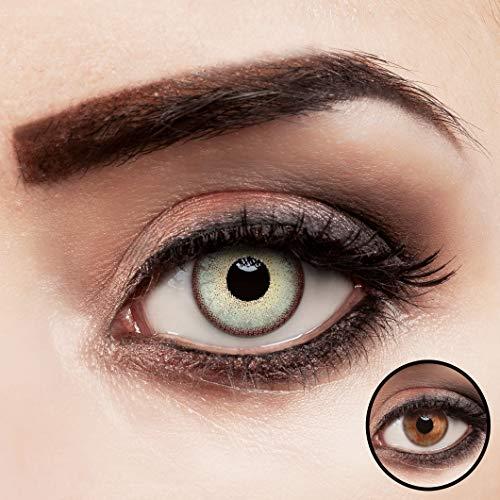 aricona Kontaktlinsen farbig hellgrün ohne Stärke stark deckende Jahreslinsen 2 Stück
