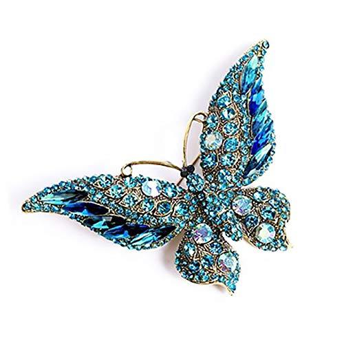 XYW Broche - Crystal Diamond Butterfly Pin Pin Moda Accesorios Accesorios for Damas Accesorios de Boda Boda (Metal Color : #2)