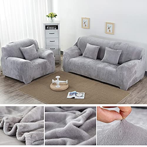 Yeahmart Thick Sofa Covers 1/2/3 Seater Pure Color Sofa Protector Velvet...