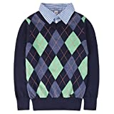 Benito & Benita Boys Argyle Sweater Plaid Holiday Knit Pullover Outfits School Uniform Tops Shirt Collar for Kids Blue 6-7Y