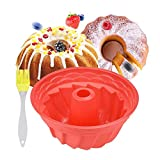 Silicone Cake Mould for Baking, 9 Inches Cake Mould Silicone Cake Tins Fluted Ring Bakeware Cake Pan Non-Stick Round Baking Pan for Donut, Muffin, Cake, Cookie, Pudding Baking, DIY Baking Cases