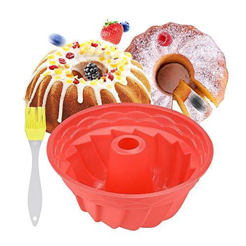 Silikon Backform Kuchenform Runde Tortenformen 9 Zoll Muffinform Wiederverwendbar Silikon Pfannkuchenform Antihaft Cupcake Backform BPA-frei Kuchenform mit 1 Silikonölbürste für Küche