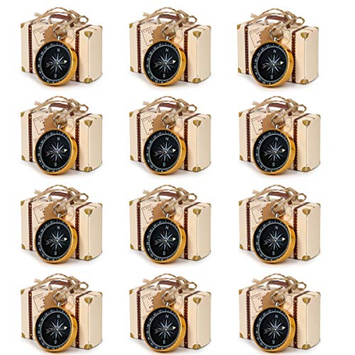 CUSFULL 50Pcs Compass Pendant Wedding Favors for Guests Compass Souvenir Gift with Kraft Tags and Box for Travel Wedding Party Decorations Nautical Christmas Ornaments (Yellow)