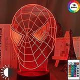 Marvel Spider superhero Face Superhero Spider superhero Night Light 3D LED Lámpara de mesa niños regalo de cumpleaños decoración de la habitación