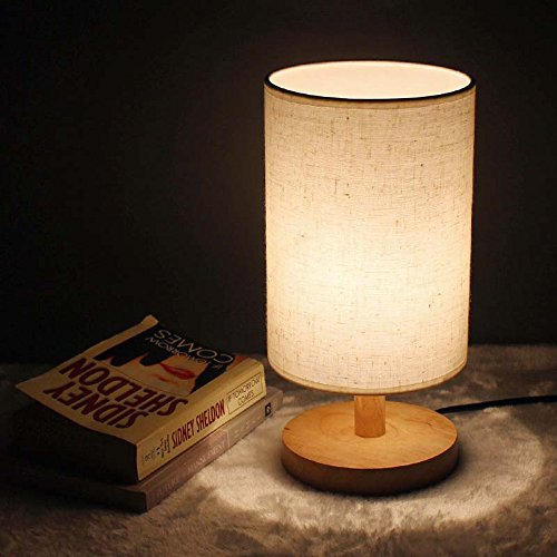 Lampe de table en bois massif minimaliste, village américain LED tissu lampe de bureau salle à manger créative chambre salon lampe de table étude nuit lumière (Design : B)