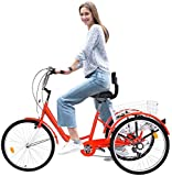 Adult Tricycle Bike 1/7 Speed 3-Wheel for Shopping W/Installation Tools Three-Wheeled Bicycle for Men and Women 500 Pcs in Stock Now, Arrive Quickly 3-12 Days RED (B)