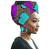Yijinstyle Tête Echarpe Femme Turbans Foulard avec Boucle d'oreille Africaine Impression Element Headwraps (Style#15, 55 * 180cm)