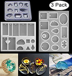 3 Pack Silicone Jewelry Casting Molds, Magnolora Silicone Resin Jewelry Pendant Necklace Molds with Popular Jewelry Shapes and Hanging Hole for Jewelry Craft Making, Polymer Clay, Resin Epoxy Making