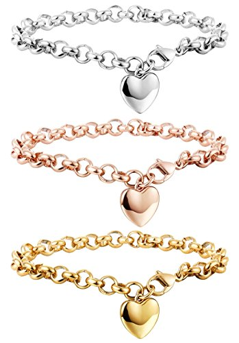 Besteel 3 PCS Stainless Steel Chain Link Bracelets for Women with Finish Heart Charm Bracelet Jewelry Set
