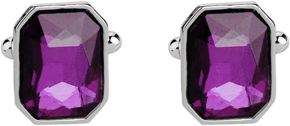 BO LAI DE Men's Cufflinks, Purple Crystal Cufflinks, Shirt Cufflinks, Suitable for Business Activities, Conferences, Dances, and Gift Boxes