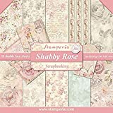 Stamperia Blocco di Carta Double-Face, Motivo: Rosa Shabby, Multicolore, 30.5 x 30.5 (12' x 12')