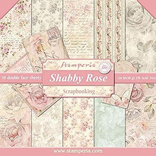 Stamperia Bloc de papel (10 hojas, doble cara), diseño de rosas, Multicolor, 30 x 30
