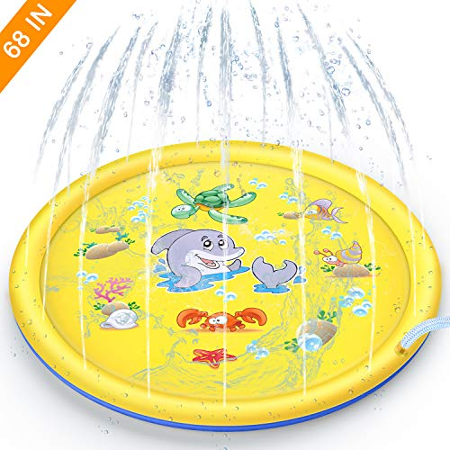 Yandu Sprinkle Pad and Splash Play Mat for Kids, 68' Inflatable Sprinkler Pad Outdoor Water Toys Summer Fun Backyard Play for Boys Girls Children (Yellow)